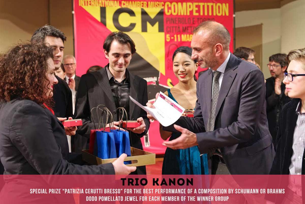 premio speciale bresso Trio Kanon International Chamber Music Competition Pinerolo e Torino Città metropolitana